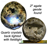 This shows two views of the same geode.  The highlighted one is shown upside down versus the view on the ruler