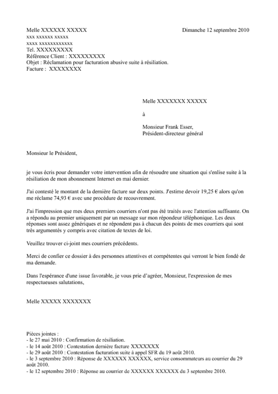 exemple de courrier avec copie a
