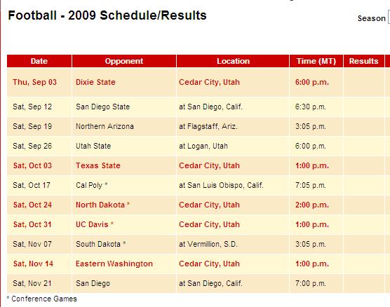2009 Football Schedule