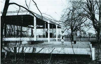 Farnsworth House construction photo Mies Plano Illinois