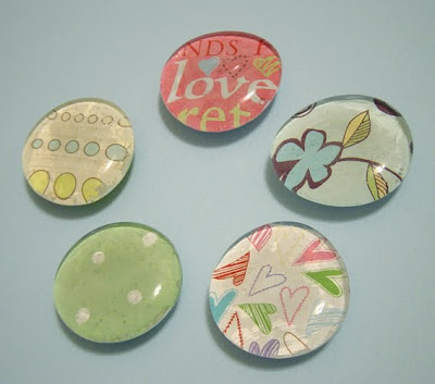 homemade glass magnets & magnet board