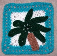 Free Crochet Pattern 7 inch Palm Tree Square - Crocheting Patterns