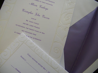 catalog invitation: purple and silver hearts wedding invitation
