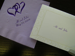 catalog wedding accessories:personalized napkins and thank you cards in purple