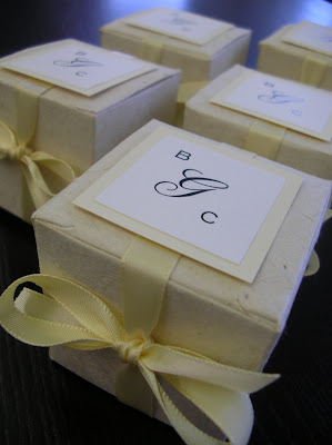 Plantable Seed Impregnated Favor Boxes with monogram tag and stain ribbon