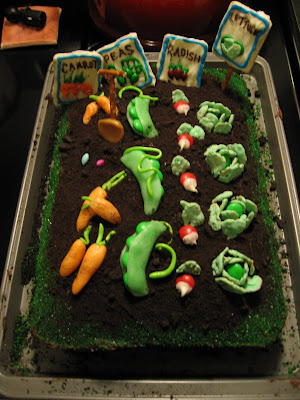 Cakes and comics and cartwheels vegetable garden cake for Vegetable garden cake ideas