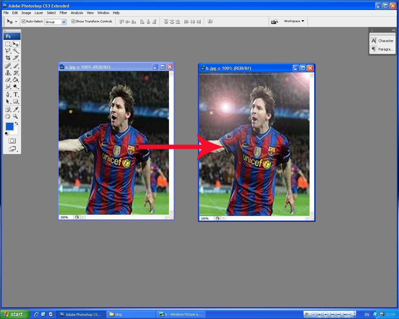 Latar Biru Foto Studio Menggunakan Efek Lens Flare Pada Photoshop