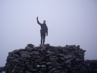 Manny at the summit of Clisham - one down, 218 to go!