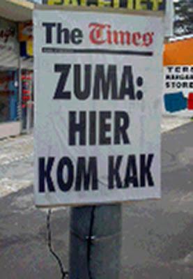 The Times Zuma: Hier kom kak