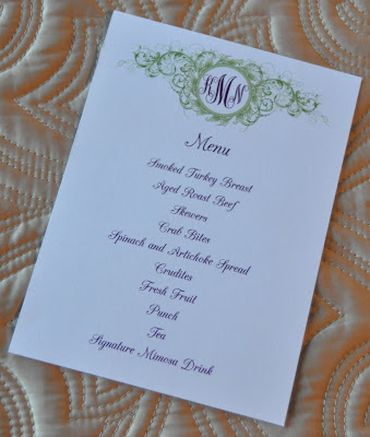Sample Wedding Programs Menu Card Layout 5x7 Menu card