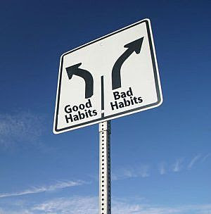 good and bad habits sign board