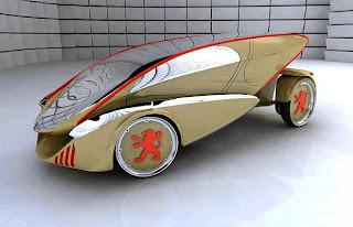 Design Concept Car futuristic Peugeot Verde