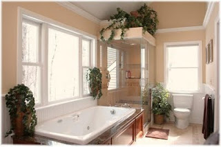 Bathroom interior with Lighting Fixtures and elegant Furniture