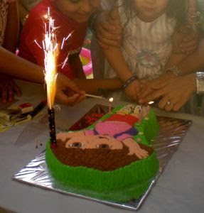 To Her Friends Birthday Party As Parents Had Ordered An Adorable Dora Cake Which Came With A Candle Sparkler That Was Ignited Before The Candles Were