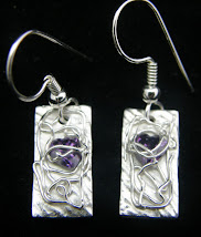 Oblong Purple Heart Earrings