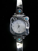 Square Faced Watch with Opal Flowers