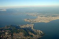 Vista aérea da região central de Florianópolis