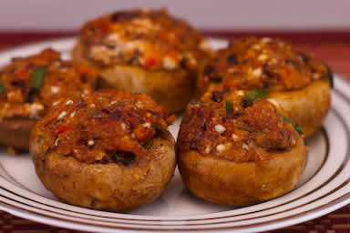 Mushrooms Stuffed with Feta and Olives