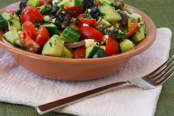 ... Chopped Tomato and Cucumber Salad Recipe with Mint, Feta, Lemon, and