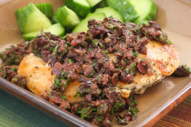 Original photo Sauteed Chicken Breasts Recipe with Olive and Caper Sauce (Low-Carb, Gluten-Free, Paleo) found on KalynsKitchen.com