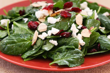 Spinach Salad with Dried Cranberries, Almonds, and Goat Cheese
