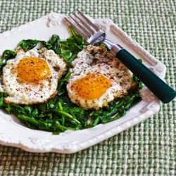 Recipe for Eggs Fried in Olive Oil with Wilted Greens and Sumac ...