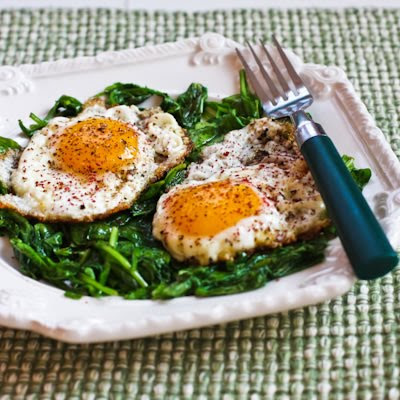 Eggs Fried in Olive Oil with Wilted Greens and Sumac