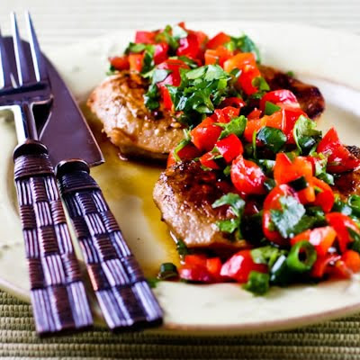 Creole-Seasoned and Pan-Fried Pork Cutlets with Tomato and Red Bell Pepper Salsa found on KalynsKitchen.com