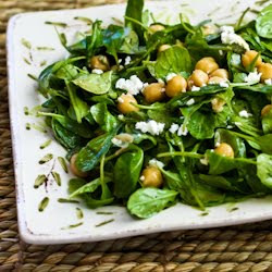 Arugula Chickpea Salad with Feta and Balsamic-Tahini Vinaigrette ...