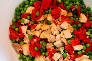 Chicken Pesto Salad with Roasted Red Pepper and Peas