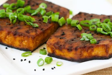 Easy Baked Tofu with Soy and Sesame found on KalynsKitchen.com