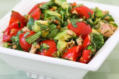 Tomato Salad with Avocado, Tuna, Cilantro, and Lime found on KalynsKitchen.com