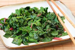 Recipe for Spicy Stir-Fried Radish Greens and/or Swiss Chard | Kalyn's ...