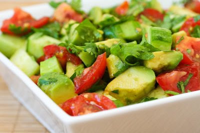 Vegan Tomato Salad with Cucumber, Avocado, Cilantro, and Lime found on Kalynskitchen.com