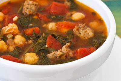 Kale, Sausage, and Garbanzo Soup