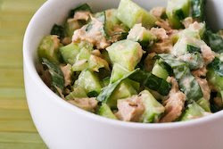Garden Cucumber Salad Recipe with Tuna and Sweet Basil (Low-Carb ...