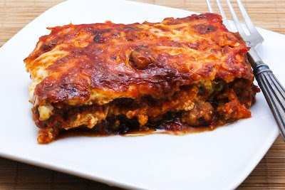 original photo for Grilled Zucchini Low-Carb Lasagna (with Italian Sausage, Tomato, and Basil Sauce) found on KalynsKitchen.com