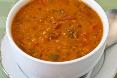 African Inspired Vegetarian Crockpot Soup with Peanut Butter, Chiles ...
