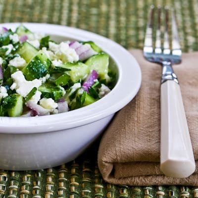 Cucumber, Onion, and Parsley Salad with Feta Cheese