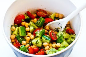... Cucumber and Tomato Salad with Marinated Garbanzo Beans, Feta, and