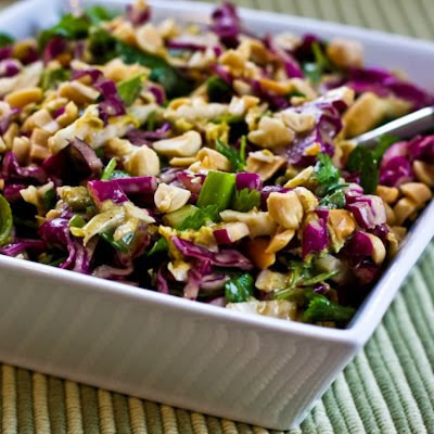 Napa Cabbage and Red Cabage Salad with Fresh Herbs and Peanuts