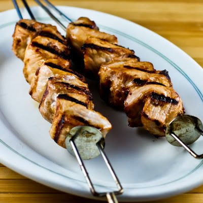 Grilled Pork Kabobs with Spicy Peanut Butter, Sesame, and Soy Sauce Marinade found on KalynsKitchen.com