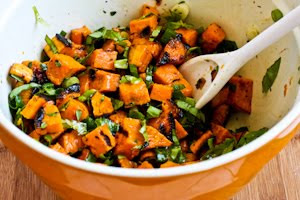 Grilled Sweet Potato Salad with Green Onion, Basil, Thyme, and Feta ...