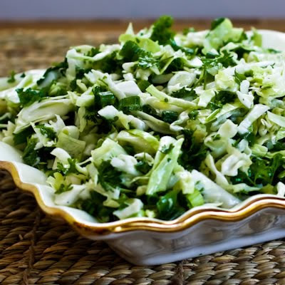 Sweet Cabbage Slaw with Green Onion and Parsley