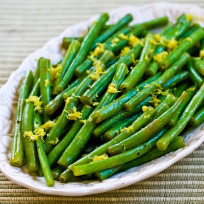 Lemony Green Beans with Lemon Juice and Lemon Zest found on KalynsKitchen.com