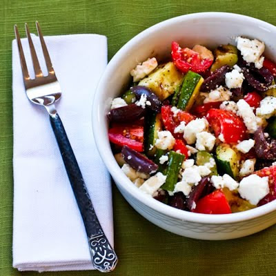 Grilled Greek Zucchini Salad Recipe: Perfect Low Carb Salad for Those on the South Beach Diet or Atkins WOE