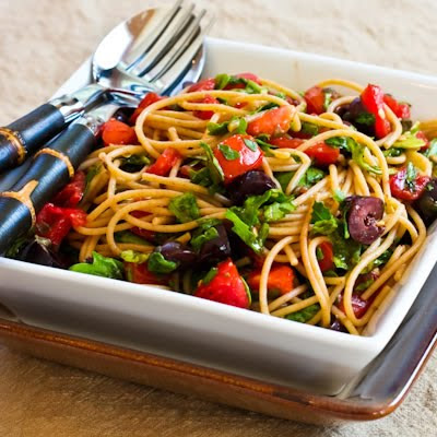 Whole What Spagetti with No-Cook Sauce of Tomatoes, Arugula, Olives, and Capers found on KalynsKitchen.com