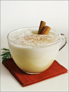 eggnog, white, red, Christmas, drink