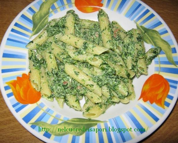 Nel cuore dei sapori penne con spinaci cremosi e pancetta for Primi piatti leggeri