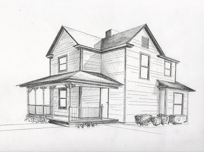 2 Point Perspective Drawing  House http://linsey110.blogspot.com/